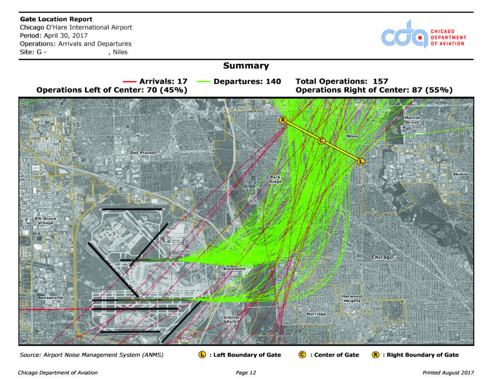 Four local communities meet over increased airport noise journal a representation of flight paths flying over niles park ridge and glenview when aircraft take m4hsunfo